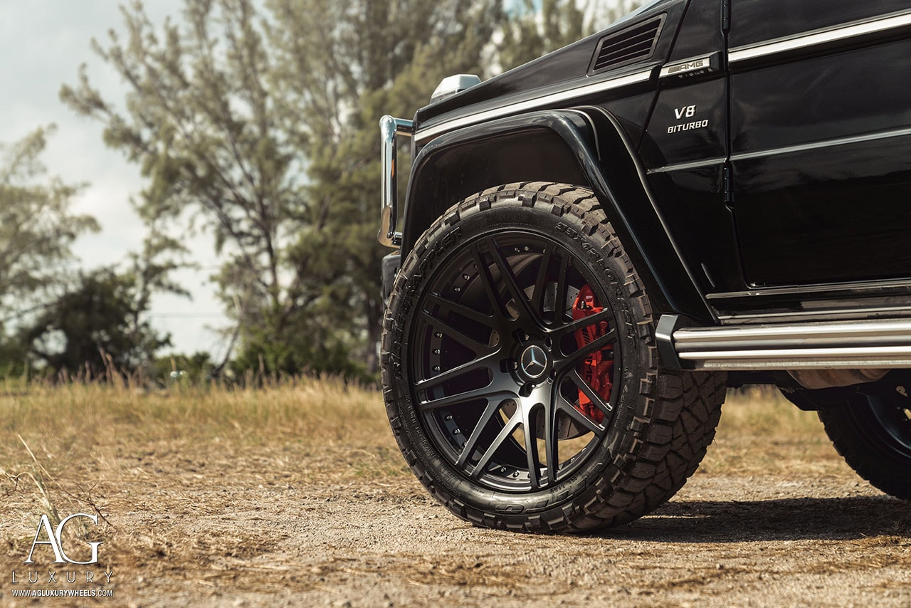 matte black mercedes benz forged concave wheels duoblock amg g63 offroad mccustoms miami rims nitto tire agl44