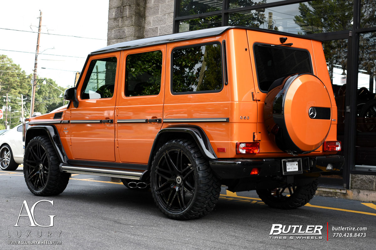 agluxury ag luxury wheels agl44 monoblock gloss black mercedes-benz mercedes benz g63 amg gwagen orange butler tire 8spoke 24inch 24s 24 inch wheel rim rims offroad rbp tires concave mbusa mb amg