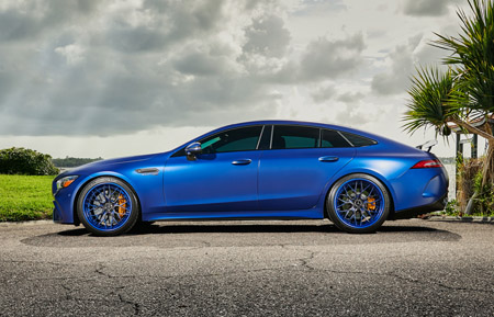 agluxury wheels agl43 spec3 two tone carbon fiber face matte colormatched blue custom concave forged three piece bespoke rims 21in mercedes-benz amg gt63s vellano forgiato vossen adv1