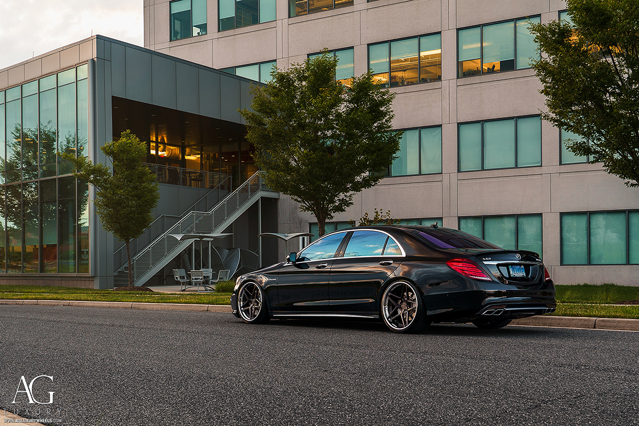 black mercedes benz s63 amg forged concave staggered wheels brushed polished w222 s class