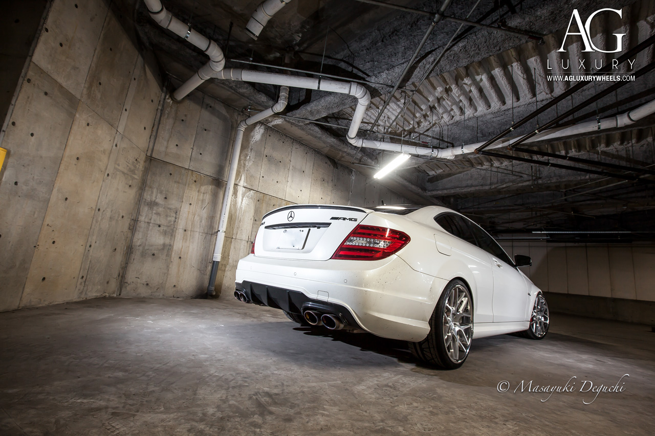 white mercedes benz c63 amg forged concave staggered wheels brushed polished w204 c class