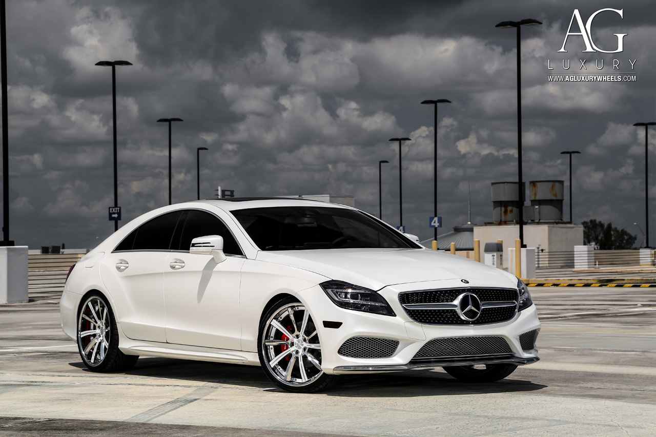 white mercedes benz cls 400 forged directional concave staggered wheels two tone w218 w219