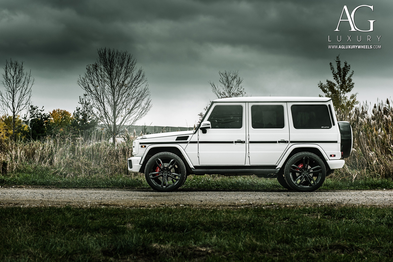 white mercedes benz g63 amg forged concave monoblock black wheels g wagon