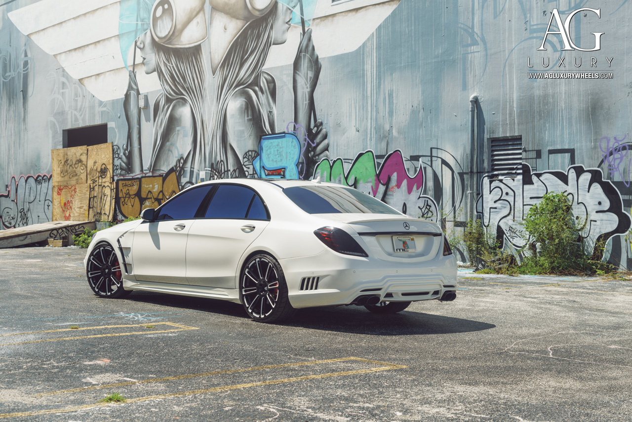 white mercedes benz s550 forged monoblock concave staggered two tone wheels w222 s class