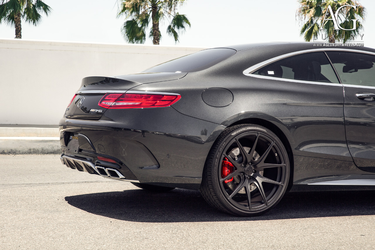 gray mercedes benz s63 amg coupe forged concave monoblock staggered black wheels w222 s class