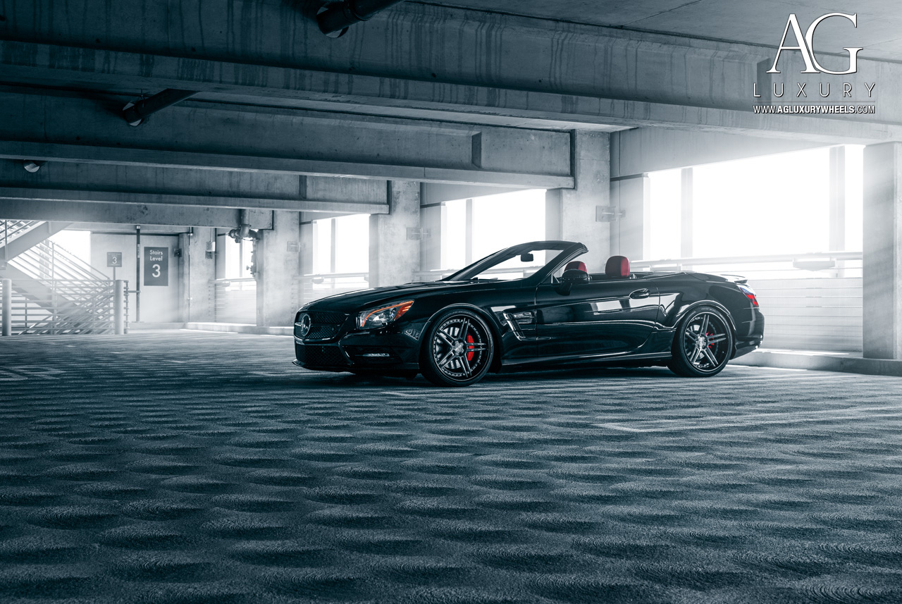 black mercedes benz sl 550 foged concave staggered gunmetal wheels