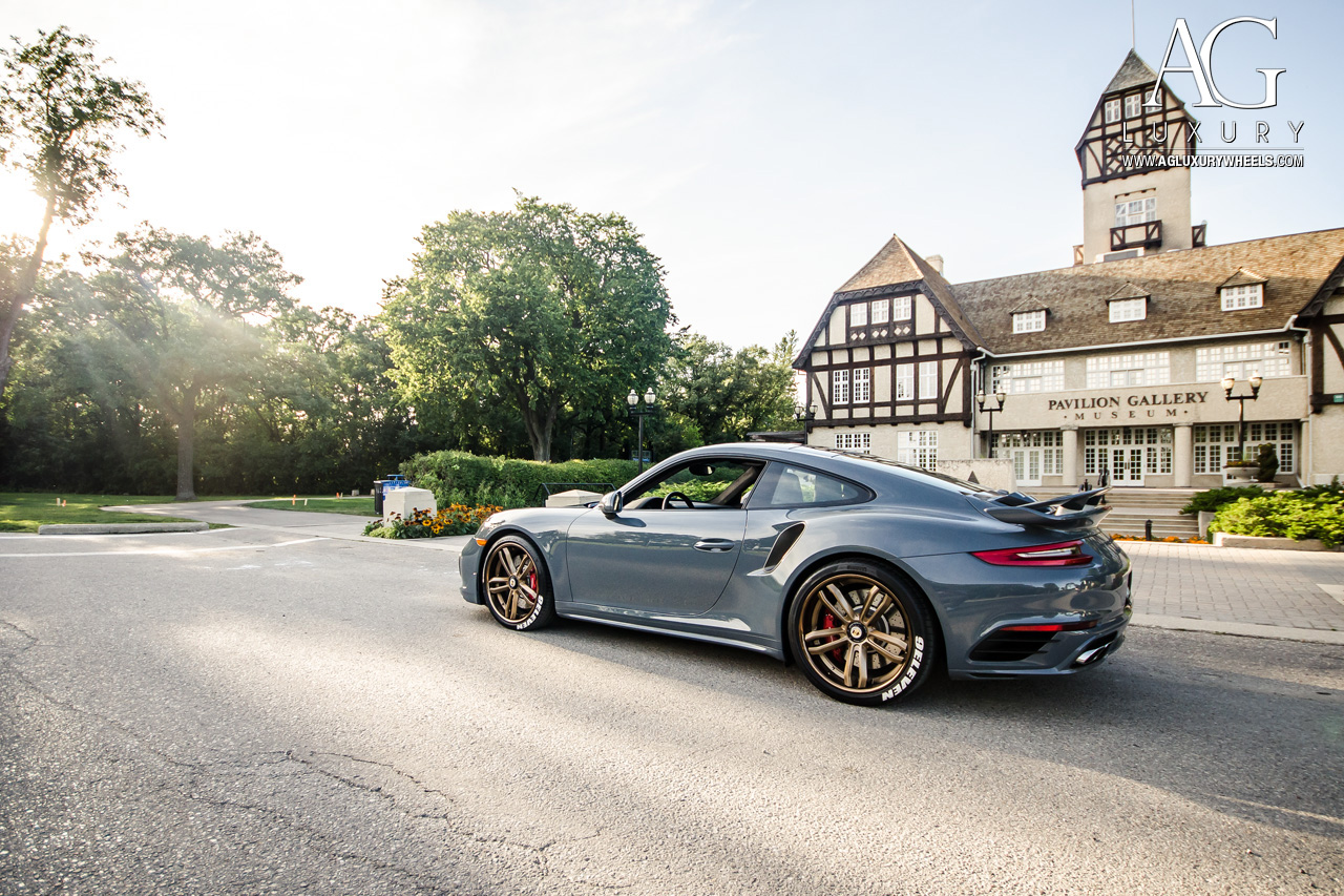 gray porsche 991 turbo forged concave staggered bronze wheels center lock