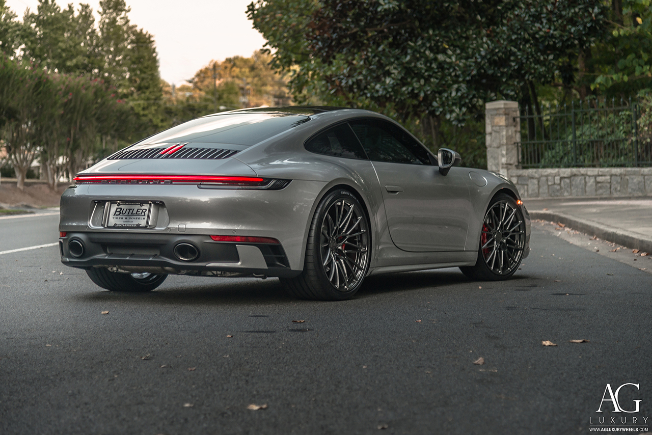 agluxury wheels agl58 polished black chrome custom concave forged monoblock bespoke rims mesh multi spoke 20in staggered porsche 992 911 carrera vossen forigato vellano rotiform