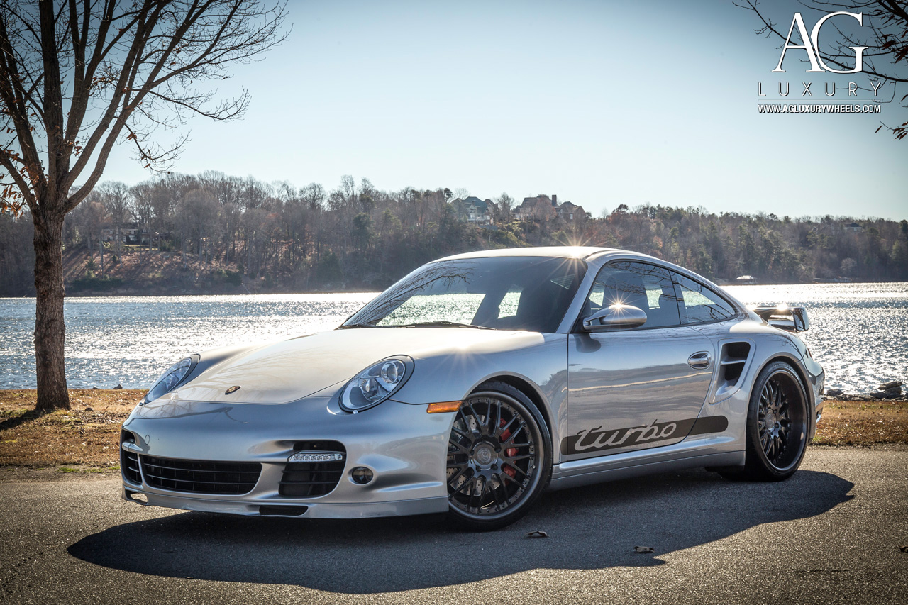 gray porsche 997 turbo forged staggered gunmetal mesh wheels