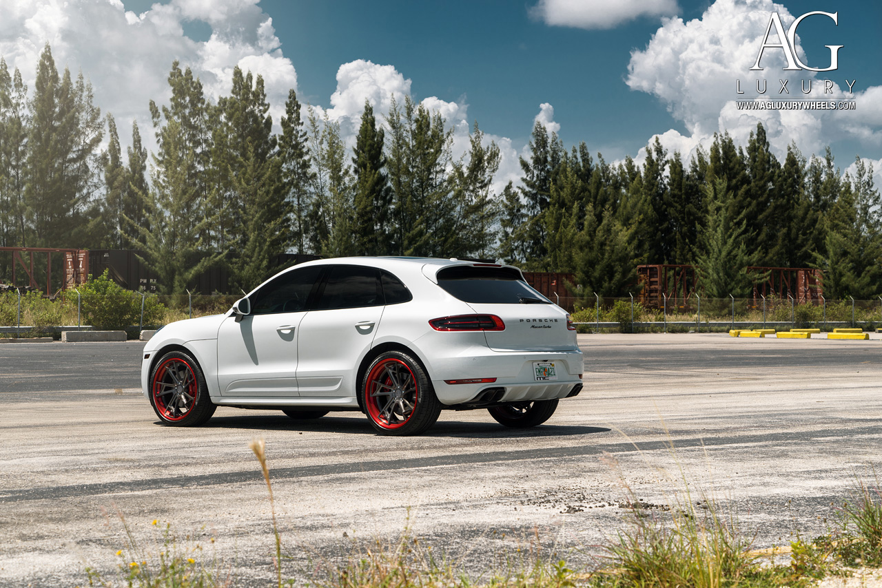 white porsche macan turbo forged concave staggered gunmetal wheels