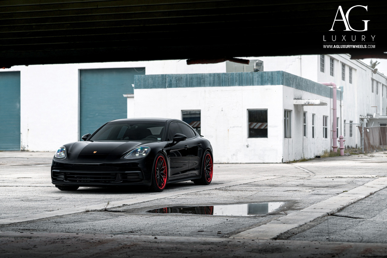 black porsche panamera 22 inch forged concave mesh staggered black wheels red lip