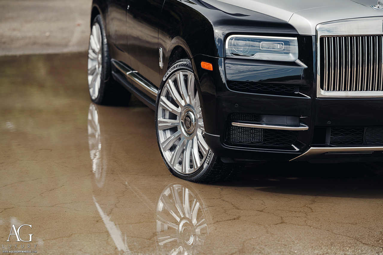 rolls royce cullinan suv agluxury wheels agl48 agl48rr monoblock two tone brushed with polished face forged custom concave forgiato 24in 24inch vellano vossen miami mccustoms william stern