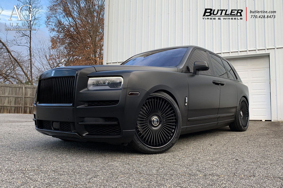 agluxury wheels rims agl45 spec3 matte black rolls-royce cullinan suv custom concave 24in 24inch multispoke forgiato rotiform vossen butler tire atlanta pruvit