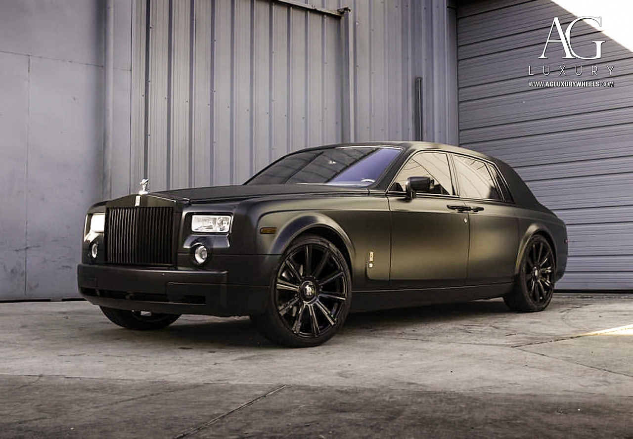 matte black rolls royce phantom 24 inch forged monoblock concave black wheels
