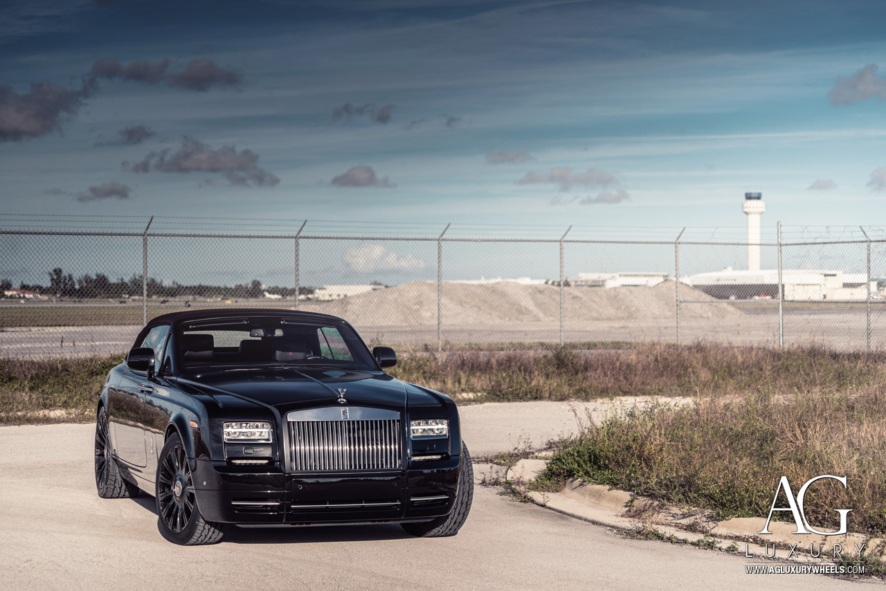 "rolls royce phantom drophead coupe wraith dawn ghost luxury agluxury agwheels avant garde wheels wheel rims rim tire tires sports monoblock forged mmiami mccustoms spoke gloss black 22""inch agl48rr"
