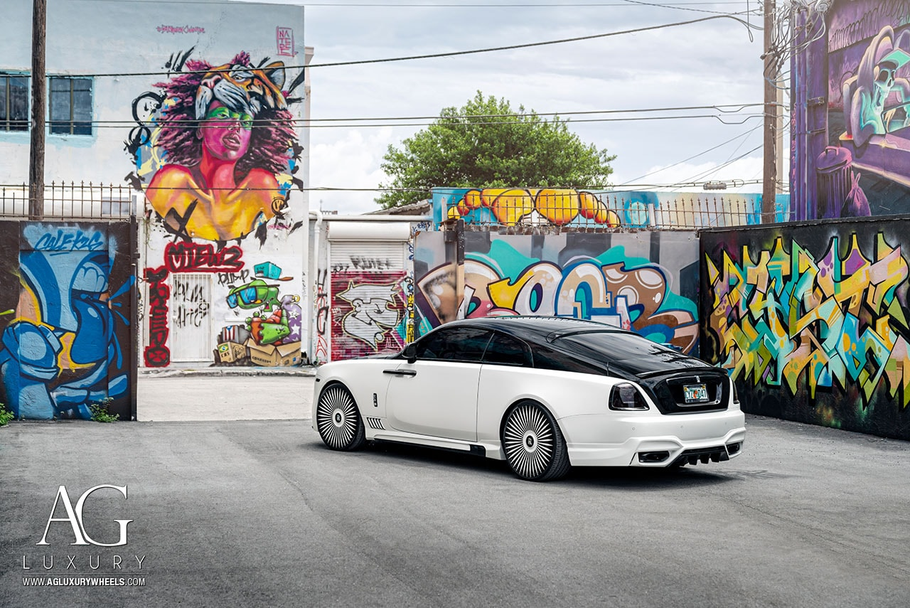 white black rolls royce wraith 24 inch 24in forged monoblock concave mesh two tone wheels rims
