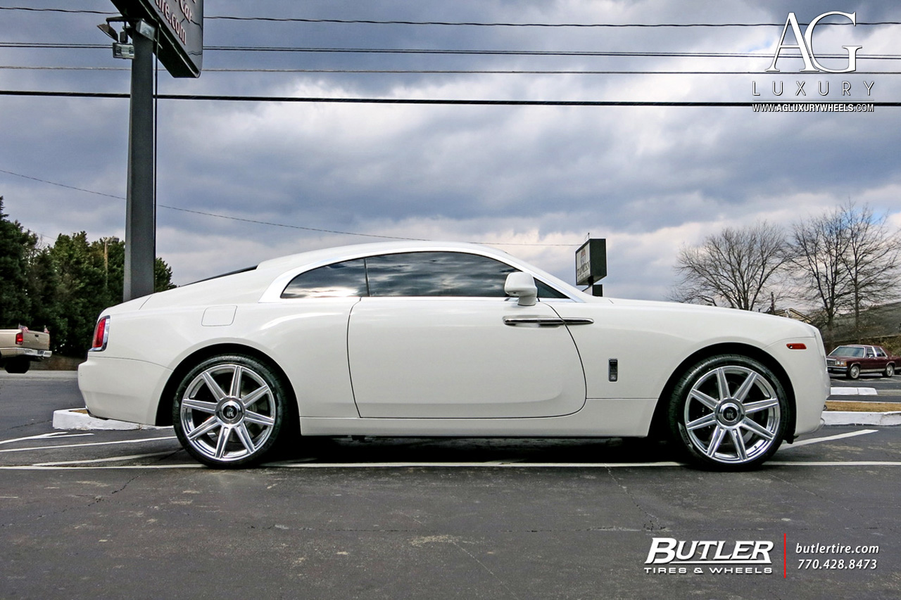 white rolls royce wraith 22 inch 22in forged concave staggered brushed polished wheels duo block 8 spoke rims rims