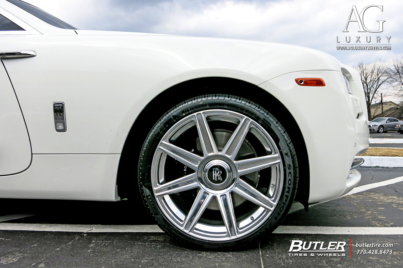 white rolls royce wraith 22 inch 22in forged concave staggered brushed polished wheels duo block 8 spoke rims