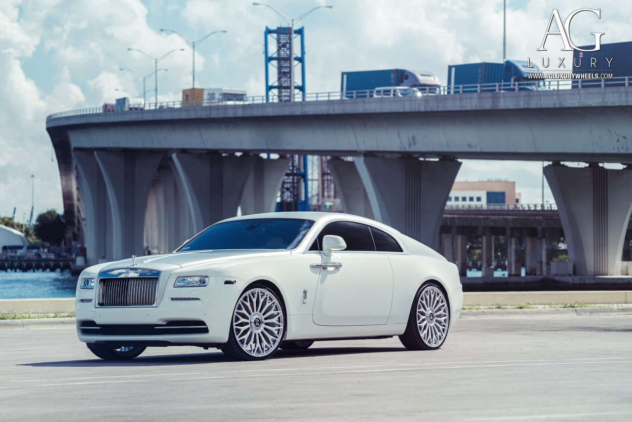 white rolls royce wraith 24 inch forged monoblock concave mesh two tone wheels