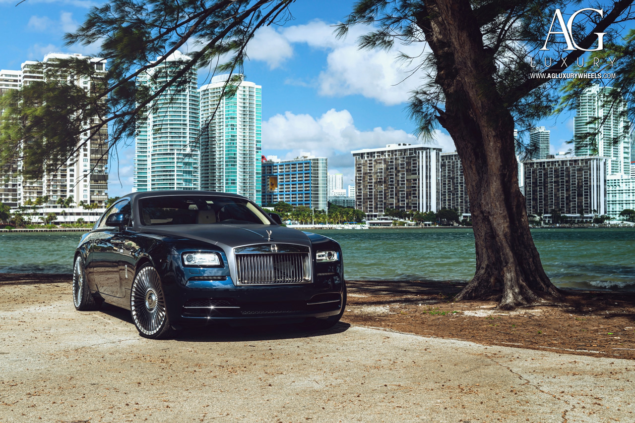 blue rolls royce wraith 24 inch 24in forged monoblock concave mesh two tone wheels rims