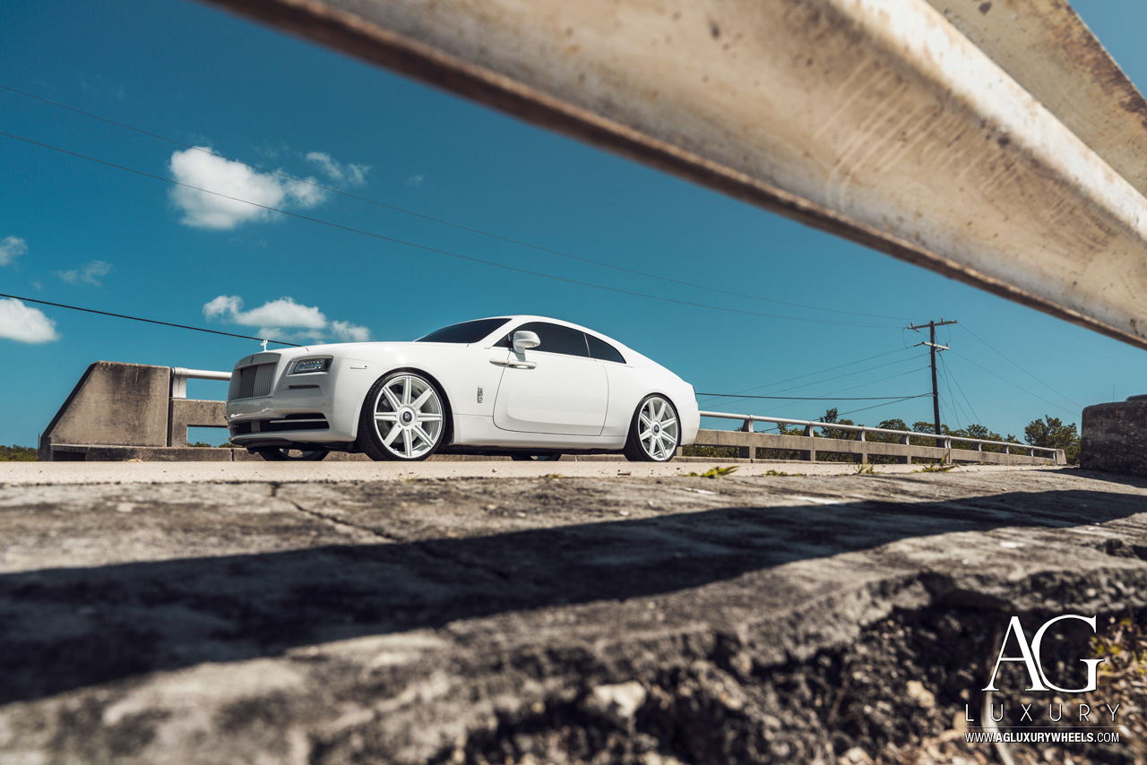white rolls royce wraith 24 inch 24in forged monoblock concave multi spoke wheels rims