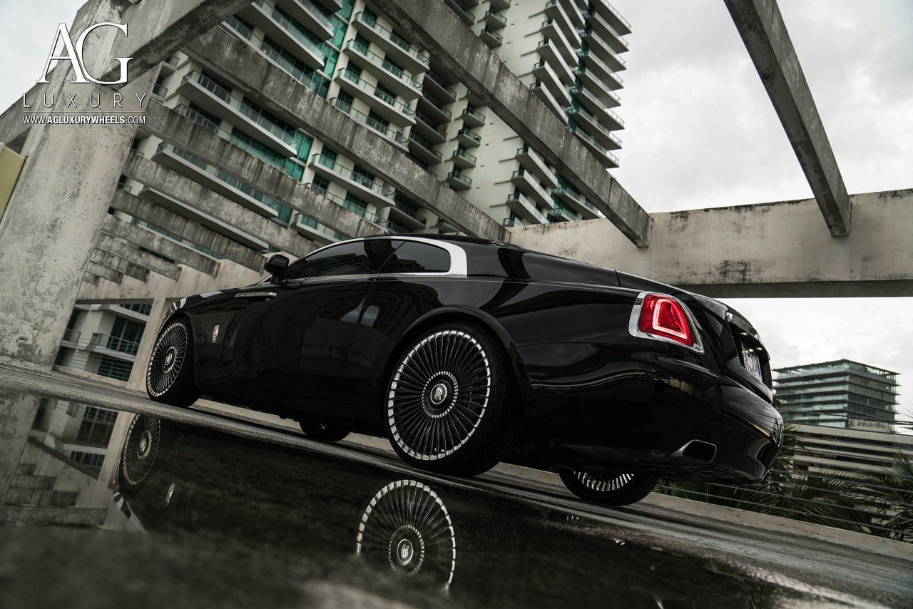 black rolls royce wraith 24 inch 24in forged monoblock concave mesh two tone wheels rims