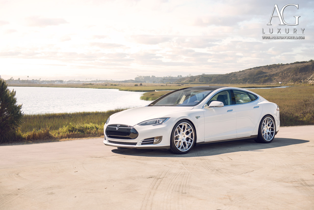 white tesla model s p85 21 inch forged concave staggered mesh brushed polished wheels