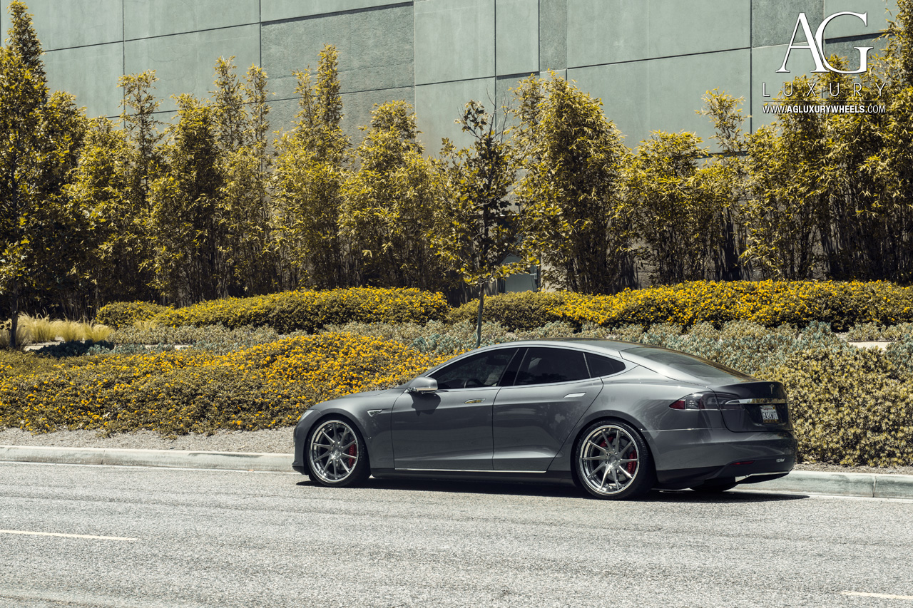 gray tesla model s 21 inch forged concave directional staggered gunmetal wheels