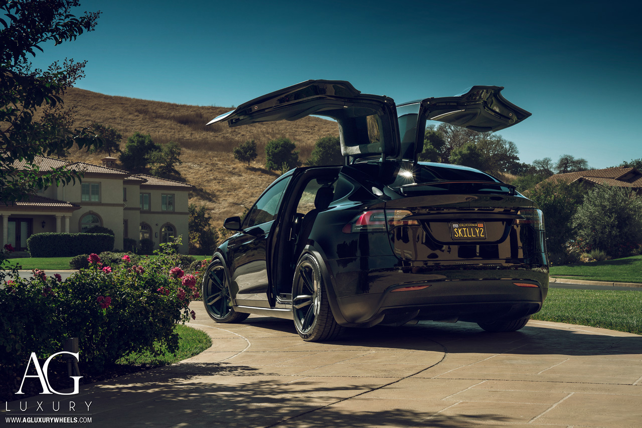 agluxury agl27 black tesla model x 22 inch 22in forged duoblock five spoke split staggered concave wheels rims