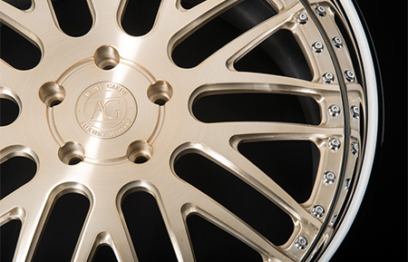 agl10 brushed champagne chrome lip custom forged 3 piece wheels