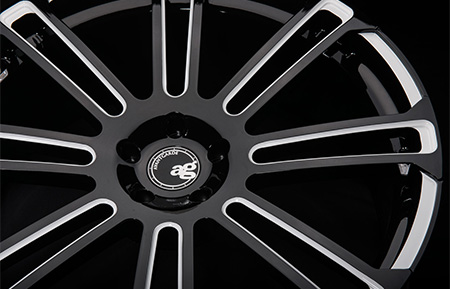 agl14 custom monoblock forged wheels gloss black white accents