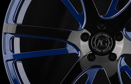 agl18 monoblock concave custom forged wheels two tone gloss black blue