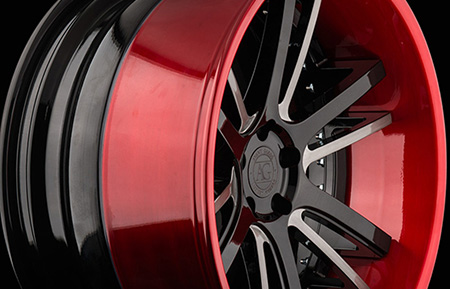 agl18 spec2 custom forged wheels two tone brushed candy apple red lip