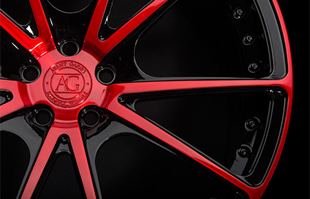 agl19 duo block forged concave wheels brushed candy apple red gloss black accents