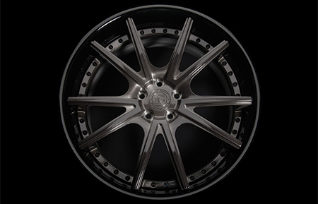 agl19 spec2 concave forged wheels brushed grigio gloss black lip
