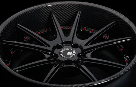 agl19 spec2 concave gloss black wheels forged carbon fiber lip