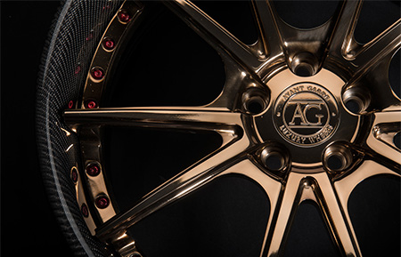 agl19 custom forged wheels concave polished liquid bronze carbon fiber lip