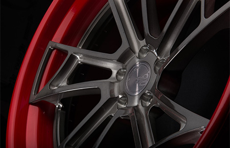 agl24 spec3 concave forged wheels brushed gunmetal candy apple red lip