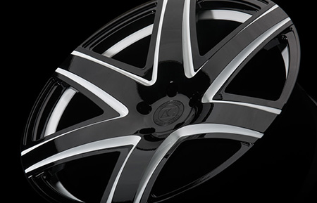 agl34 monoblock concave forged wheels gloss black white accents