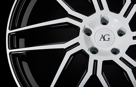 agl35 monoblock forged directional wheels gloss white black accents