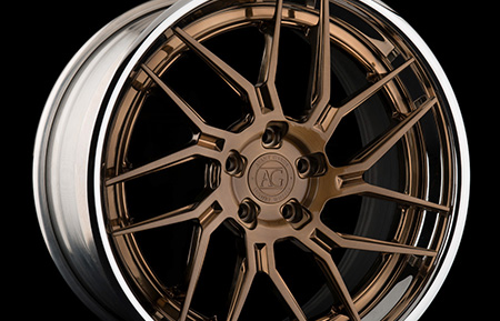 agl35 spec3 concave forged directional wheels brushed antique bronze chrome lip