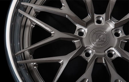 agl40 spec3 concave forged wheels brushed gunmetal polished lip