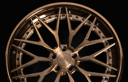 agl40 spec3 concave forged wheels matte brushed antique bronze polished liquid bronze lip mesh