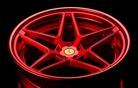 agl42 spec3 three piece rims forged concave wheels brushed candy apple red ferrari agluxury avant garde luxury wheel