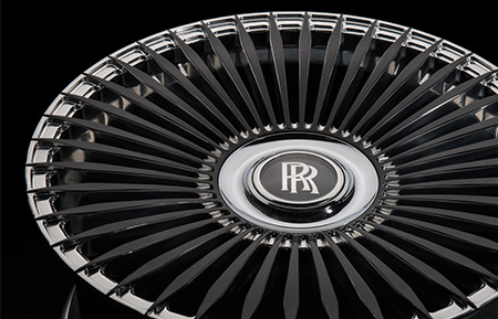 agl45 rolls royce center cap forged wheels gloss black polished accents