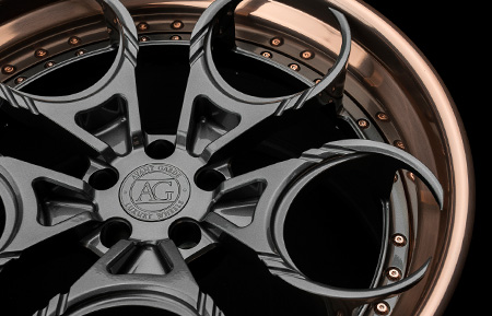 agl46 spec3 three piece rims forged concave wheels brushed rose gold gloss grigio gunmetal ferrari lambo lamborghini agluxury avant garde luxury wheel