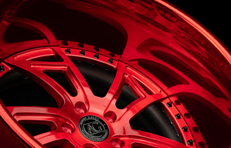 agluxury wheels agl24 rims custom concave forged three piece brushed candy red  22in 22inch directional five spoke