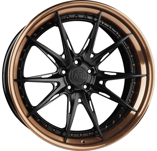 agl59 spec3 three piece agluxury luxury agwheels avant garde wheels wheel spoke matte black liquid bronze brushed polished concave lamborghini phone dial rim rims bespoke custom forged