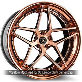 agluxury agl42 spec3 three piece custom forge rim wheel monoblock forged wheels polished rose gold brushed split spoke lamborghini huracan